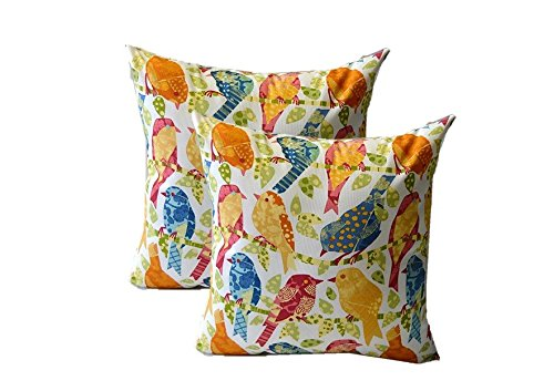 Set of 2 Pillow Covers - 20'' Ash Hill Garden Bird Fabric - Pink Yellow White Green Blue Decorative Square Pillow Covers - Indoor Outdoor Fabric