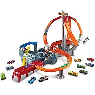 Hot Wheels Spin Storm Track Set Orange Track High Speed Multi-Lane Loops Motorized BoosterAges 6 and Older
