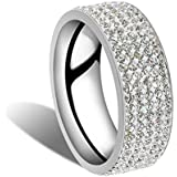 Men Women Stainless Steel Crystal Band Ring Gold Silver Wedding Band Ring Sz8-10 ERAWAN (Size 10, Silver)