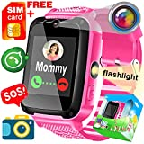 Kid Smart Watch Phone - [SIM Card Included] for Girls 3-14 Years Smartwatch SOS 2 Way Call Camera Math Game Flashlight Cell Phone Wristwatch Christmas Birthday Electronic Gifts for Boys Children