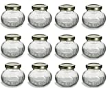 4oz glass jelly jars - 12 pcs, 4 oz Round Glass Jars for Jam, Honey, Wedding Favors, Shower Favors, Baby Foods, Canning, spices