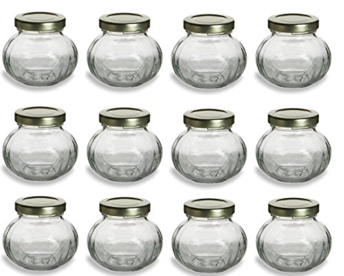 12 pcs, 4 oz Round Glass Jars for Jam, Honey, Wedding Favors, Shower Favors, Baby Foods, Canning, spices ()