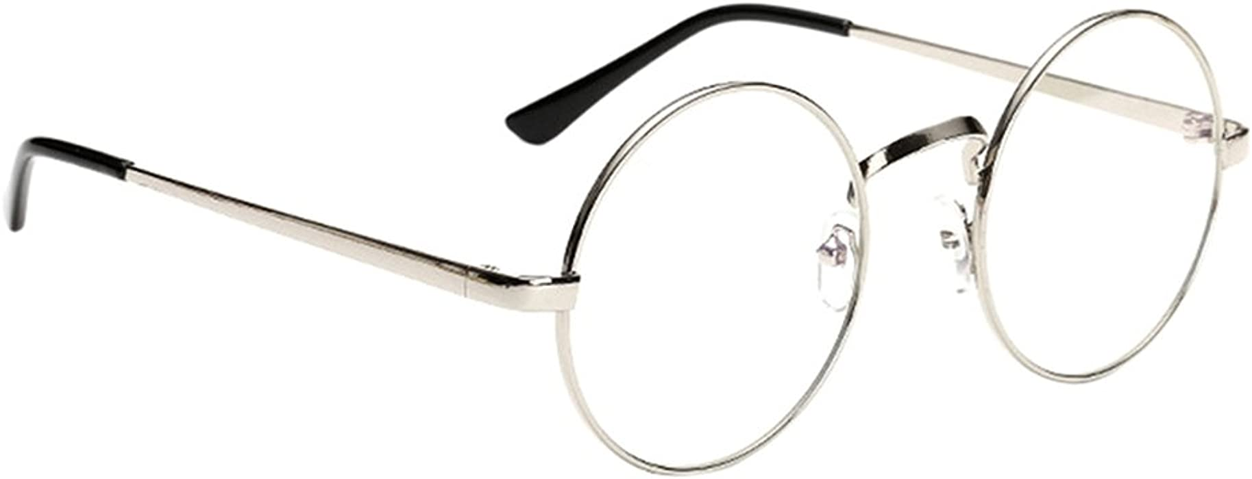 1b4680e811a1 Littlegrass Round Circle Frame Vintage Large Clear Lens Glasses Metal Brown  Black Silver Gold