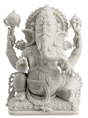 Rare Ganesh Lord of Prosperity & Fortune Statue White Finish