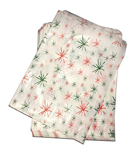 Tezraftaar® 5″ X 7″ Red & Green Strong Starburst Paper Bags Sweet Favour Buffet Gift Shop Party Sweets Cake (50)