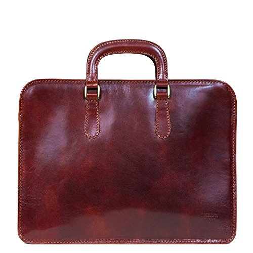 I Medici Palelrmo Single Gusset Slim Briefcase, Document Case in Brown