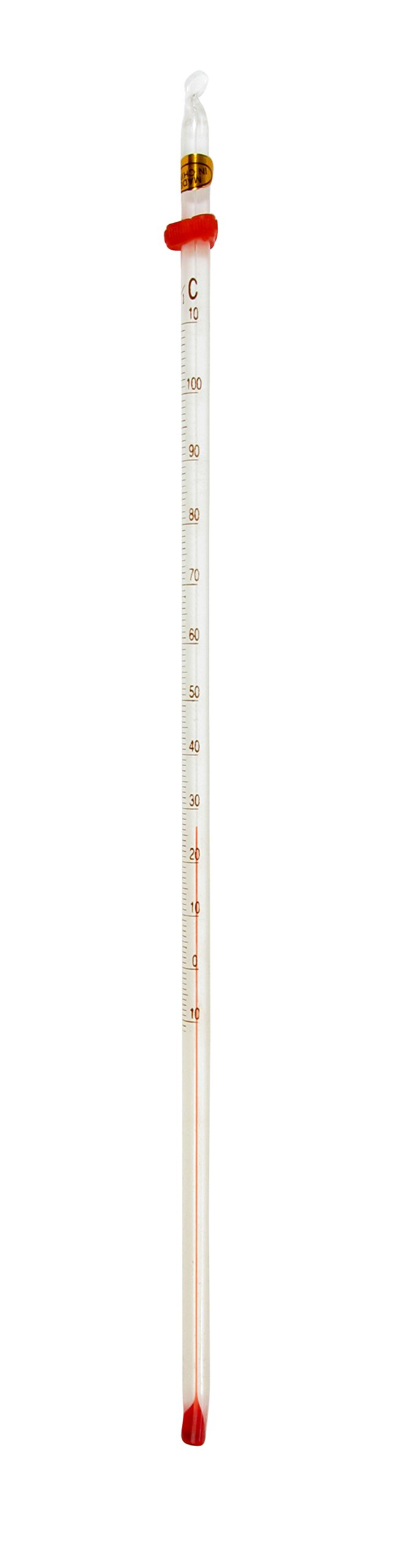 American Educational Partial Immersion Red Alcohol Single Scale Thermometer with White Back, -10 to +110 Degrees C, 300mm Length (Bundle of Five)