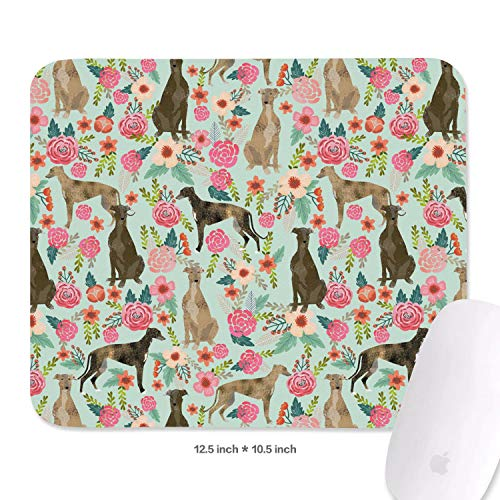 Brindle Dog and Florals mat Mouse Comfy Mouse Pad Waterproof Mousepad ()