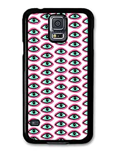 Illuminati All Seeing Eye Pattern in Pink and Blue on White carcasa de Samsung Galaxy S5