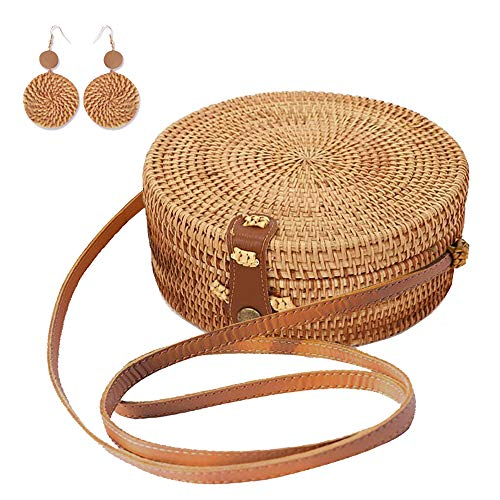 Handwoven Round Rattan Bag Purse Shoulder Leather Straps