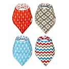 Premium Bandana Baby Drool Bibs - Set of 4 Bibsters with Patterns for Boys & Girls - 100% Cotton Saliva Drooling Scabibs with Crumb Catcher - Fits Any Newborn, Infant or Toddler - Perfect Shower Gift
