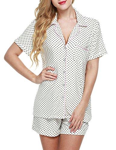 Ekouaer Womens Plus Size Pajama Sleepwear Cute Night Pajamas(White, XX-Large) (Sleepwear Pajama Cotton)