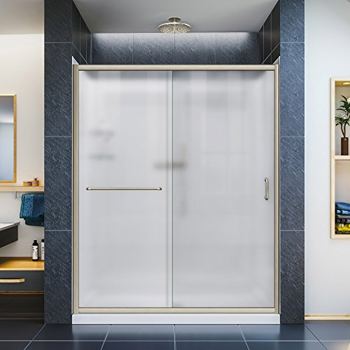 Slimline Flat Panel (DreamLine Infinity-Z 30 in. D x 60 in. W Frosted Sliding Shower Door in Brushed Nickel with Right Drain White Base and Backwall, DL-6116R-04FR)