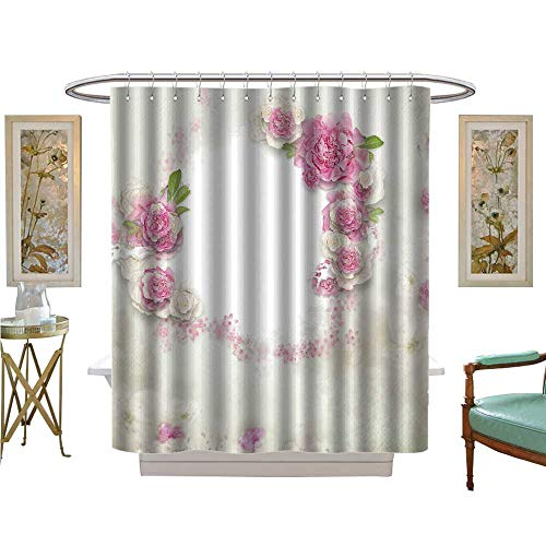 luvoluxhome Shower Curtains Digital Printing Vintage Background with Stamp Frame and Flowers for Congratulations and Invitations Bathroom Decor Sets with Hooks W69 x L84