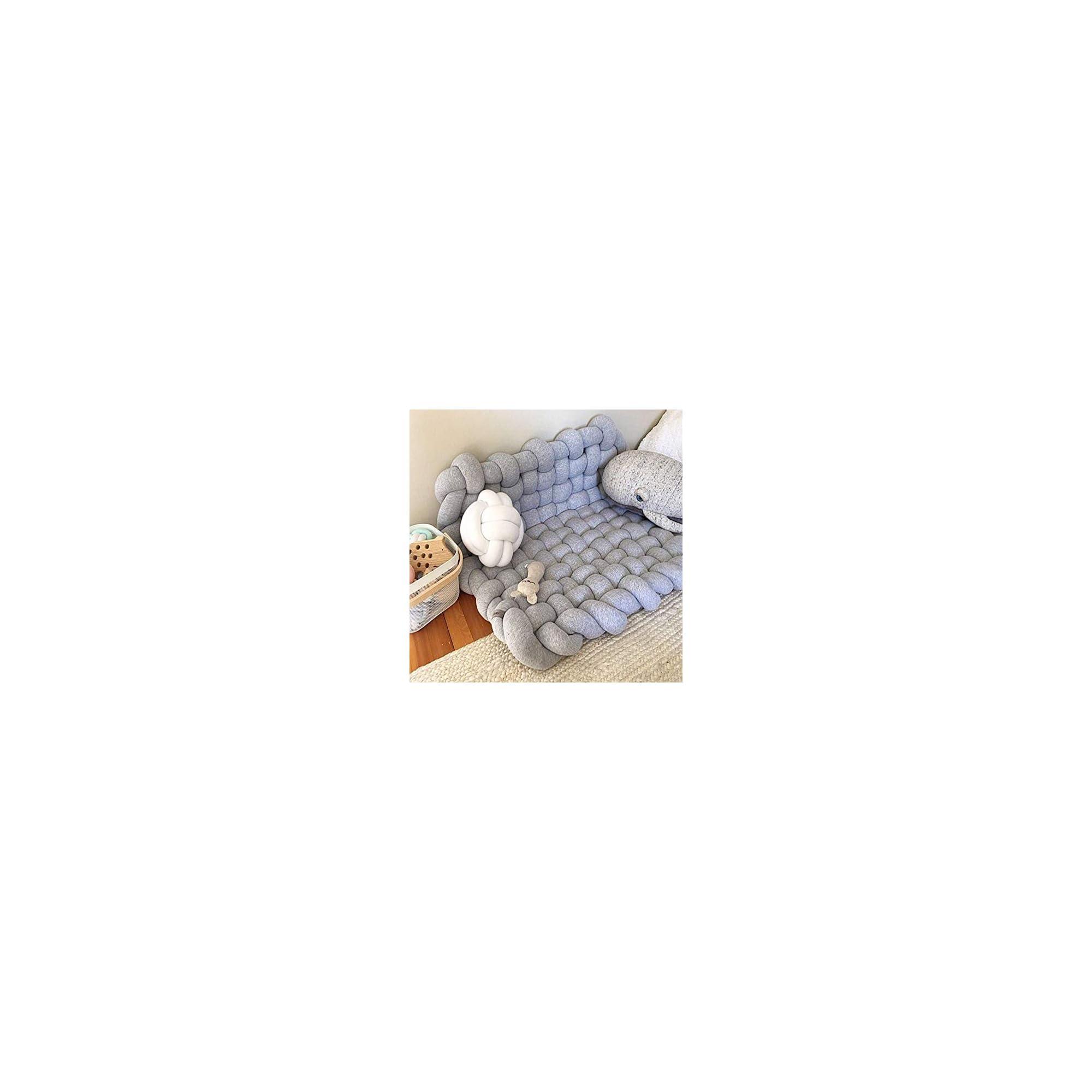 Wonder Space Knotted Braided Plush Mat, Baby Infant Newborn Sleeping Tummy Time Playing Nursery Rug Knot Floor Cushion, Handmade Pure Soft Cotton, Fashion Cute Toddler Children Room Decor, Grey
