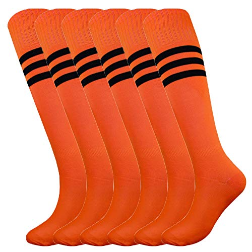Fitliva Adult Knee High Sports Socks with Black Stripe (6pairs-Neon -