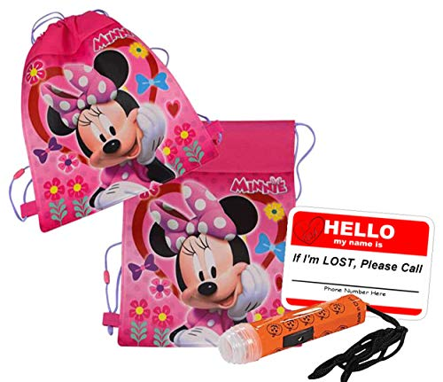 UPD Disney Minnie Mouse Inspired Girls Resuable Drawstring Halloween Trick Treat Loot Bag!! Plus Bonus Safety First Sticker & Mini Halloween Flashlight Necklace!]()