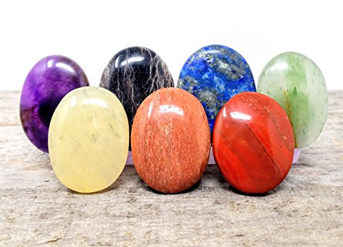 7 pcs Chakra Polished Crystal Healing Worry Stone Set/Holistic Balancing Pocket Stones