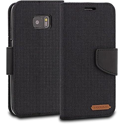 Galaxy S7 Edge Case, ModeBlu [Pocket Diary Series] [Black] Wallet Case ID Credit Card Cash Slots Premium Canvas Sales