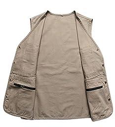 Wantdo Men\'s Multiple Pockets Cotton Safari Traveling Vest US Medium Khaki