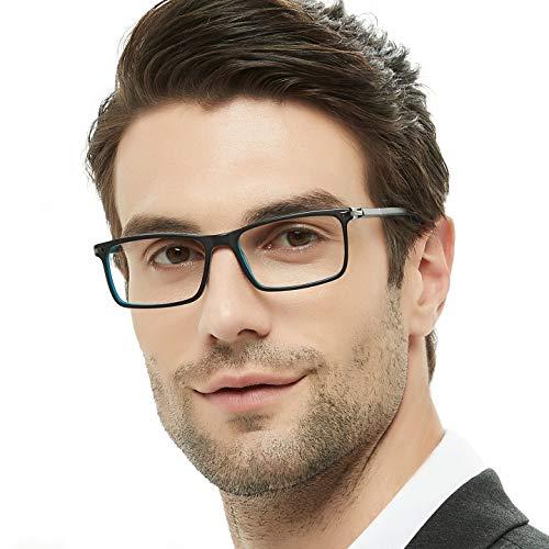 - OCCI CHIARI Rectangular Stylish Eyeware Frames Prescription Eyeglasses with Acrylic Lenses Gifts for Men (Black-Blue,52)