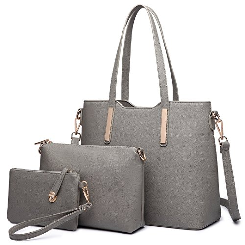 7b9367066a427 Miss Lulu Women Fashion Handbag + Shoulder Bag + Purse Faux Leather Tote 3  Piece Grey