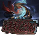 Htxun6x Crack Pattern Glowing USB Wired Gaming Keyboard with MouseRussian Version Cool - Black