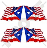 "USA United States of America & PUERTO RICO, American-Puerto Rican Flying Flag 2"" (50mm) Vinyl Bumper Stickers, Decals x4 (Left-Right)"