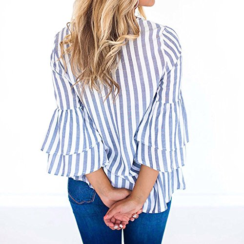Ray Tops Manche et Col Taille Bleu Imprim Longue Chemisiers Chemise Femme Blouses Femme Weant Femme Grande Tee U Shirt Blouse Blouse Casual Shirt vFH8qnF6
