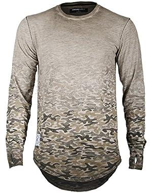 Men's Long Sleeve Camouflage Longline Round Bottom Oil Wash T-Shirts