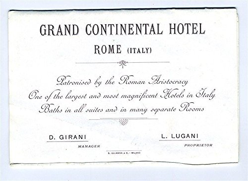 Grand Continental Hotel Rome Italy Brochure and Map Early 1900's