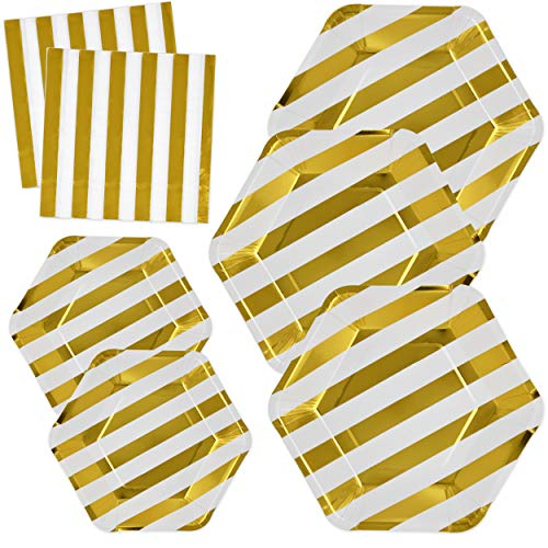 Baby Shower Paper Luncheon Plates - Gold Metallic Striped Plates and Napkins Set for 24; Gold Foil Disposable Paper 24 9