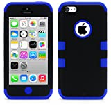 iPhone 5C Case, MagicMobile Hybrid Impact Shockproof Cover Hard Armor Shell and Soft Silicone Skin Layer [ Black - Blue ] with Free Screen Protector / Film and Pen Stylus