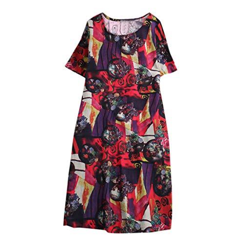 Women Dress Summer Leisuer Vintage Printed Short Sleeve Round Neck Dress Purple ()