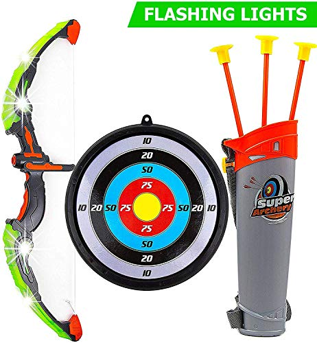 Awesome Kids Toys (Toysery Bow and Arrow for Kids with LED Flash Lights - 13-inch Archery Bow with 3 Suction Cups Arrows, Target, and Quiver - Practice Outdoor Toys for Children Above 3)