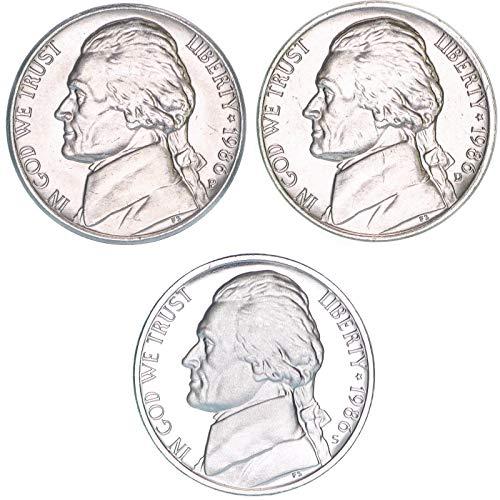 1986 P D S Jefferson Nickel Year Set BU & Gem Proof 3 ()