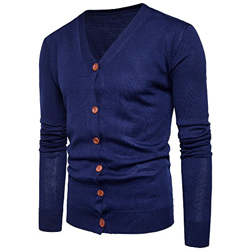 YIMANIE Mens Casual Basic Designed Cardigan Sweaters Button Down V Neck Sweater, Navy, X-Large ()