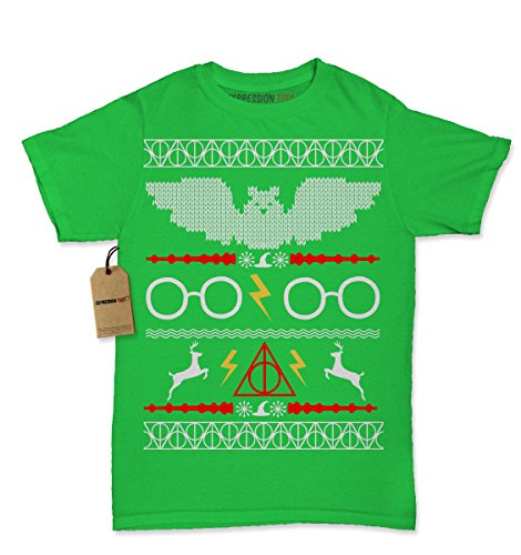 Womens Harry Potter Fawkes Gryffindor Ugly Christmas Sweater T-Shirt Medium Kelly Green (Harry Potter Themed Costumes)