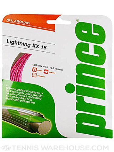 Prince Classics Lightning XX 16g 1.30 mm Pink Tennis String – 2 Packs
