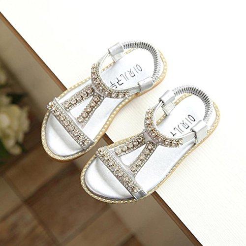 Baby Strand Schuhe Strandsandalen Prevently Schuhe Schuhe Mädchen Silber Sandalen Sandalen Kristall Roman Kinder Strass Prinzessin avAwq0dv