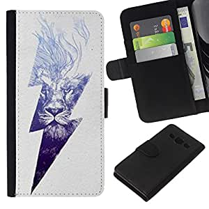 KingStore / Leather Etui en cuir / Samsung Galaxy A3 / Rayo Ac Corriente León Poder Gris