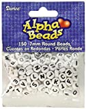 Plastic Alphabet Beads 7mm Round 70 grams (about 150 beads) White w/ Black Letters