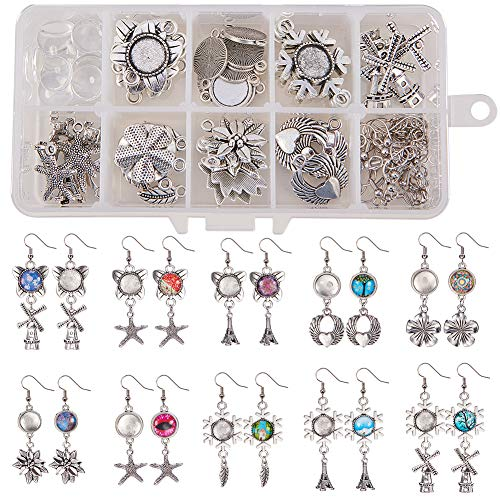 SUNNYCLUE 1 Box DIY 10 Pairs 12mm Glass Dome Cabochon Earrings Making Starter Kits Include Earring Wire Hooks, Cabochon Settings, Round Glass Dome Tiles, Charm Beads, Antique Silver