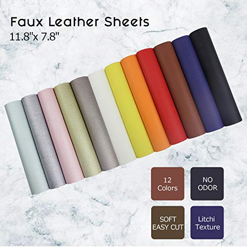 Litchi Faux Leather Sheets, SIMPZIA NO Odor 11.8'' x 7.8'' PU Synthetic Leather Cotton Backed, 1.2mm Easy Cut Fabric Leather with 12PCS Pearlized and Solid Colors for Earrings, DIY Craft Projects by SIMPZIA (Image #3)