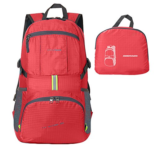 ORICSSON Unisex Rated 35L Durable Lightweight Foldable Backpack Waterproof Handy Daypack (Red-II, 35L)