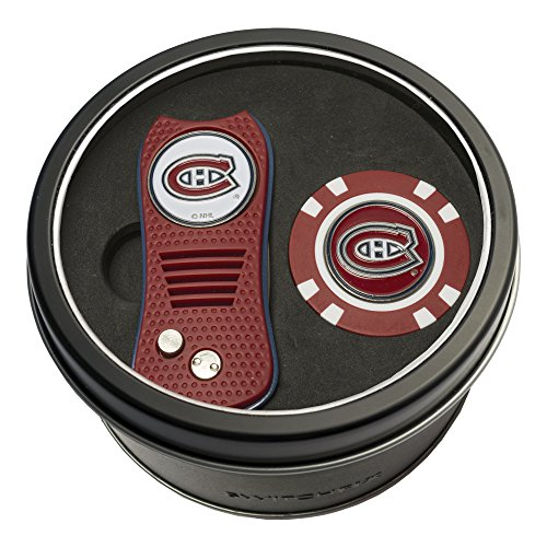 Team Golf NHL Montreal Canadiens Gift Set Switchblade Divot Tool & Chip, Includes 2 Double-Sided Enamel Ball Markers, Patented Design, Less Damage to Greens, Switchblade Mechanism (Set Team Canadiens Montreal)