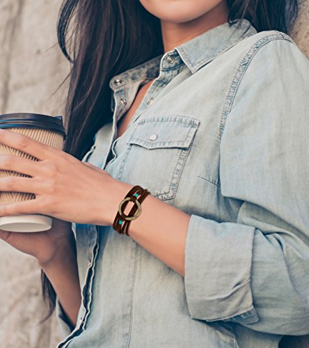 New! Handmade 3 Wrap Antique Gold Circle Brown Suede with Teal Accent Leather Bracelet with Adjustment Chain | SPUNKYsoul Collection by SPUNKYsoul (Image #1)