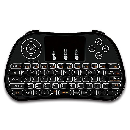 RabbyRock Mini Wireless Keyboard and Touchpad Mouse Combo - 2.4Ghz Colorful Backlit Handle Control - Best Remote Control & Rechargeable Combos for PC, Pad, Google Android TV Box (S5)