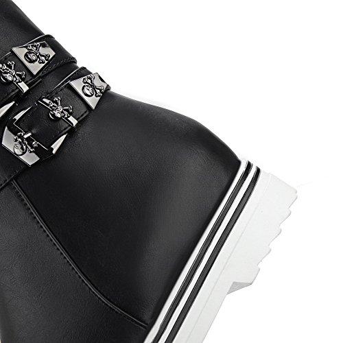 Allhqfashion Donna Tacco Tacco Gattino-tacco Materiale Morbido Basso-top Stivali Solidi Nero