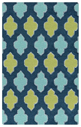 (Rizzy Home Fusion Collection Wool Blue/Teal/Gray/Rust/Blue Trellis Area Rug 5' x 8')